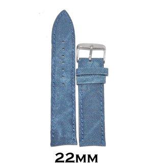 Kolet 22Mm Padded Leather Denim Watchband (Blue)