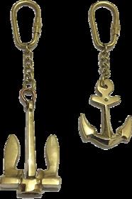 Nautical Brass Metal Anchor Keychain-Set of 2