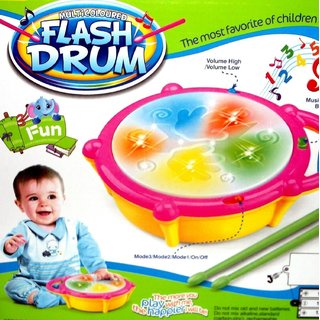 Shribossji Flash Drum Set With Music And Lights Electronic Touch Flash Visual 3d Lights For Kids