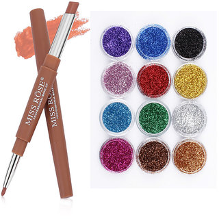 MISS ROSE 2 IN 1 Waterproof  Matte Lip Liner With Lipstick And 12pcs glitter