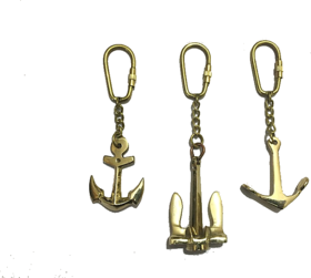 Nautical Brass Metal Anchor Keychain-Set of 3