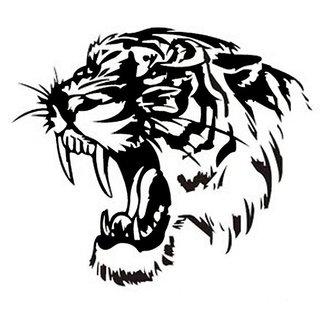 Futaba Creative Tiger Car Hood Sticker - 28 Cm - Black