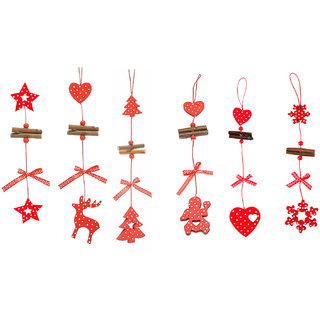 Futaba Christmas Tree String Pendant Wooden Ornament - Pack of Six