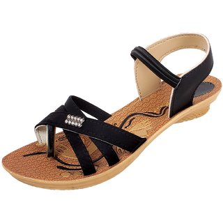 Skymate Black Fancy Sandals For Women's