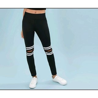 Code Yellow Women's White Stripe Black Colour Knee Cut Stretchable Leggings Yoga Gym Wear