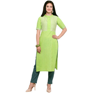 Kvsfab Green  Cream Cotton Khadi Stitched Kurta KVSKR9023RT2