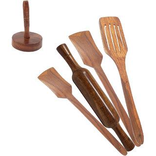 Desi Karigar Wooden Kitchen Tool Set - Pack Of 6