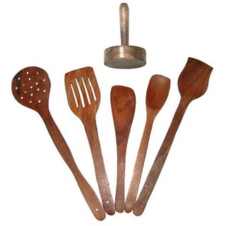 Desi Karigar Brown Wooden Five Spoons And A Masher