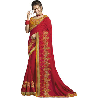 Kvsfab Red  Yellow Georgette Embroidery Saree KVSSR7311ARY