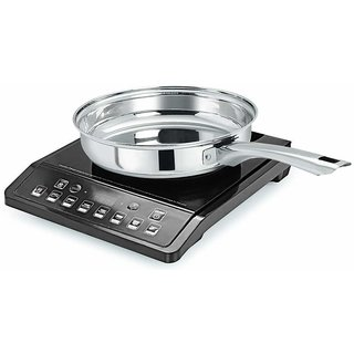 Pristine Heavy Gauge Induction Compatible Stainless Steel Sandwich Base Fry Pan, 22 cm