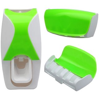Automatic Toothpaste Dispenser Automatic Squeezer and Toothbrush Holder Bathroom Dust-proof Dispenser Kit Toothbrush Holder Sets (Green) StyleCodeG-10