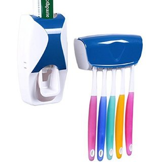 Automatic Toothpaste Dispenser Automatic Squeezer and Toothbrush Holder Bathroom Dust-proof Dispenser Kit Toothbrush Holder Sets (Blue) StyleCodeBlu-1