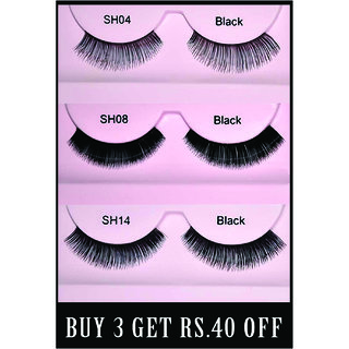 Buy GlamGals Stylish Eyelashes pair of 3 & Get Rs 40 off