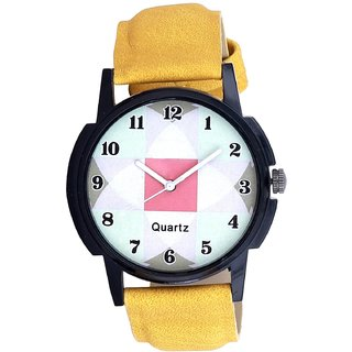 ONS Isolatic Chex Yellow Belt Sports Watch For Men