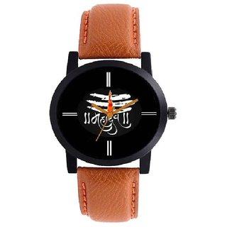 ONS Mahadev Black Dial Brown Belt Watch For Men