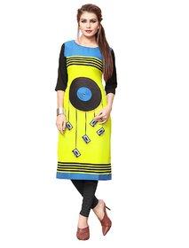Women's Digital Printed Multicolor American Crepe Long Kurti87