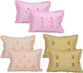 Rj Products Pure Cotton Standard Size Multicolor Pillow Cover (Set of 6)  Flower Leaf Pattern