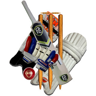PC COMBO 2 LEGUARD PCKW BAT 3 WICKET GLOVES LEATHER BALL 1 PC478