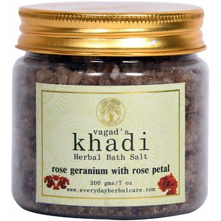 Vagad's Khadi Rose Geranium With Rose Petals Herbal Bath Salt