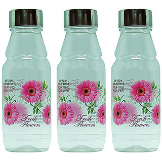 GPET Fridge Water Bottles Rose 500 ml Pink with Steel Cap  Set of 3