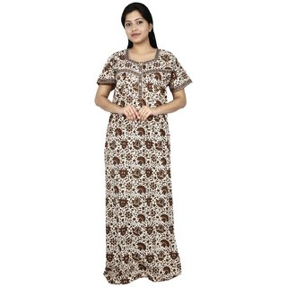1bfeb17282 Buy Nighty House Womens Extra Length (60 Inches) Brown XL Cotton Nighty  Online - Get 4% Off