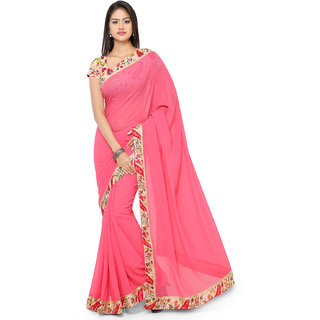 florence clothing company Pink Georgette Embroidered Saree With Blouse