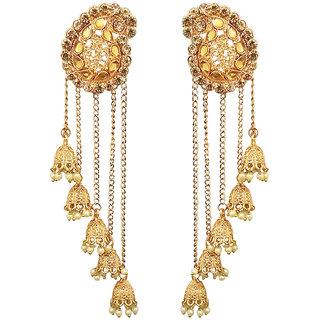 JewelMaze Gold Plated Stone Beads Dangler Earrings-1313903