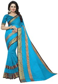 The Shopoholic Blue Cotton Silk Chekered Style Sarees For Women