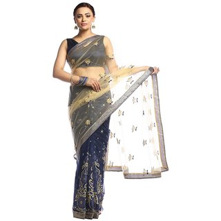 Florence Blue Lycra Embroidered Saree with Blouse