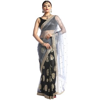 Florence Black Lycra Embroidered Saree with Blouse