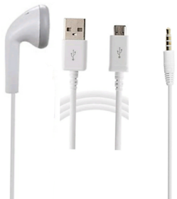 Deal Combo Earphone + USB With Mic White