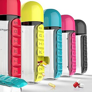 Combine Water Bottle With Removable 7 Day Pill Medicine Organizer Drinking  Cup Assorted Color