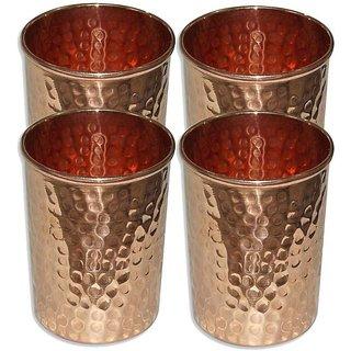 Clickmart Pure Copper Glasses Hammered 350 ML (Set of 4)
