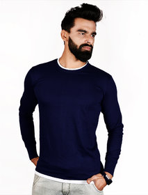 The Royal Swag Men's Cotton Full Sleeve T-shirt- Oxford Blue Crew Neck