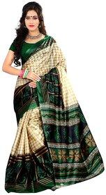 Sharda Creation Green Taffeta Paper Silk Saree Without Blouse