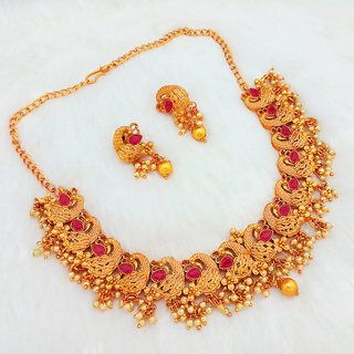 JewelMaze Gold Plated Gold Brass  Copper Necklace Set For Women