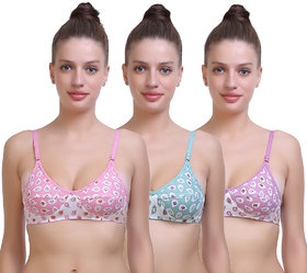Pack of 3 Multicolor Cotton Non- Padded Bra for Women by SK Dreams