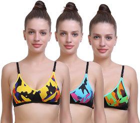 SK Dreams Multicolor Non- Padded Sinker Bra For Women (Set of 3)