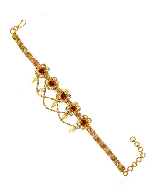 Anuradha Art Gold Finish Flower Styled Designer Vakki//Armlets Bajuband for Women//Girls