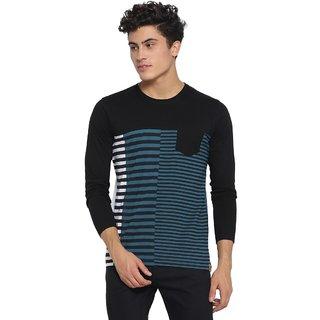 Campus Sutra Men's Black Striped T-shirt
