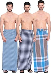 Pack of 3 pieces pure cotton South Indian Lungi offer - Big Size 2.10 meters