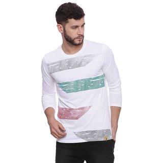 Campus Sutra Men's White Striped T-shirt