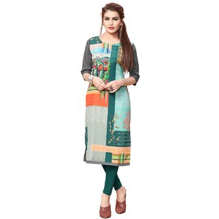 Women's Digital Printed Multicolor American Crepe Long Kurti89