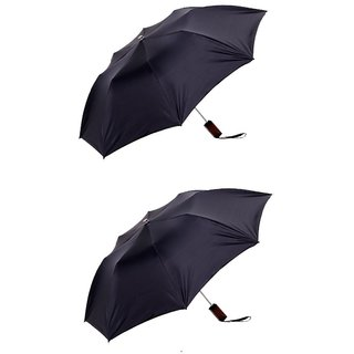 Pack of 2 Oshop Trades 2 Fold Auto Umbrella - Black- kcitizen2foldblackgxpc02