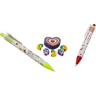 Toys Factory Student Supplies Kit (2 Stylish Pencil +Cake/Piece Eraser Set)