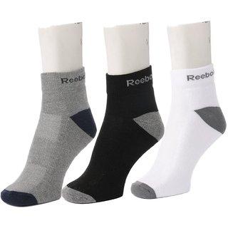 Reebok Multi Color Mens Half Cushion Ankle Socks Pack Of 3