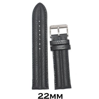 Kolet 22Mm Half Padded Leather Black Watchband