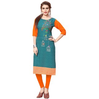 Women's Digital Printed American Crepe Straight cut Kurti92