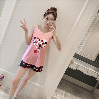 2f2843a901cf Popmode Pink and Black Cute Heart Women Nightwear Girls Cotton Top and Shorts  Night Dress