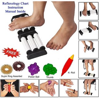 Acupressure n Massager Double Foot Roller for Pain Relief full body Massager kit combo